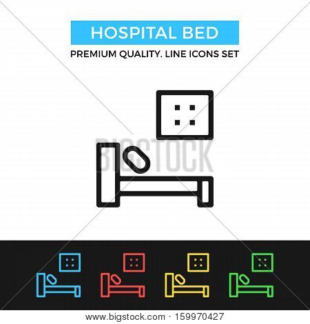 Vector hospital bed icon. Hospitalization, bed rest. Premium quality graphic design. Signs, outline symbols collection, simple thin line icons set for websites, web design, mobile app, infographics