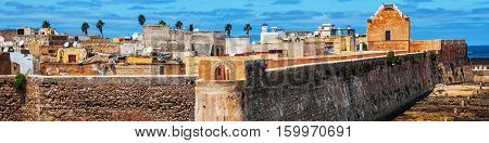 Mazagan Morocco. Aerial view of Mazagan or El Jadida Morocco. It is a Portuguese Fortified Port City registered as a UNESCO World Heritage Site
