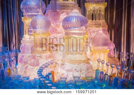Leavesden, London, UK - 1 March 2016:  Ice sugar decoration for Christmas party in Hogwarts. Decoration Warner Brothers Studio for Harry Potter film