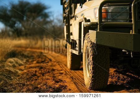 off road car on sand road in Africa