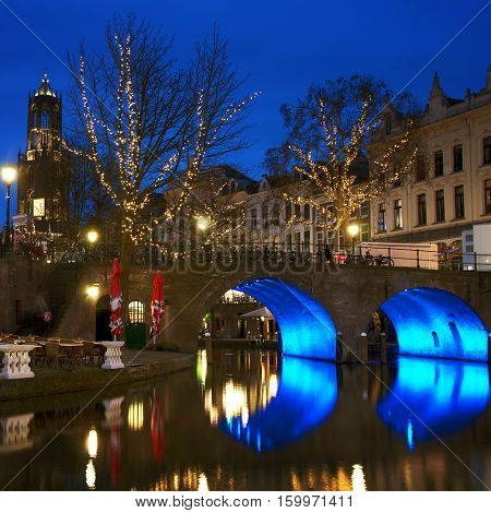 Utrecht Netherlands. Ancient city center features many buildings from the Early Middle Ages. The area in Utrecht - a canal following the Rhine river.