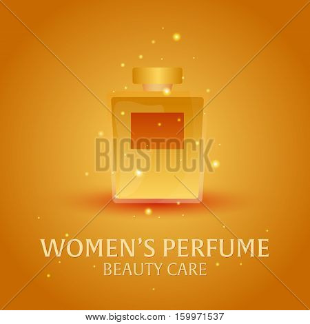 Banner Women's Perfume. Beauty Care. Classic Bottle Of Perfume. Liquid Luxury Fragrance Aromatherapy