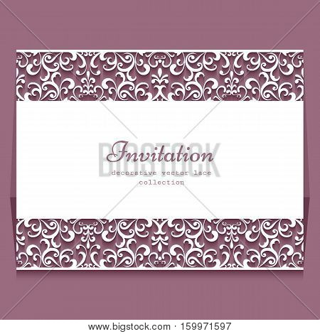 Elegant frame with lace border ornament of cutout paper swirls, greeting card or wedding invitation template