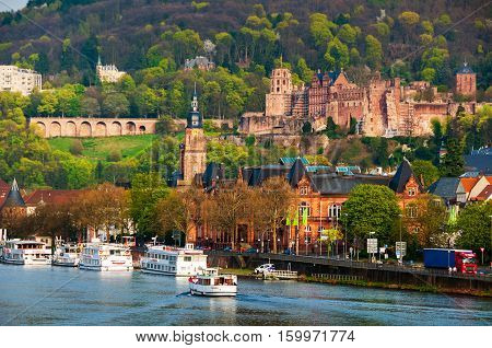 Heidelberg Germany. View of Renaissance style Heidelberg Castle - ruin and a landmark in Germany. Popular tourist destination most famous attraction of the area