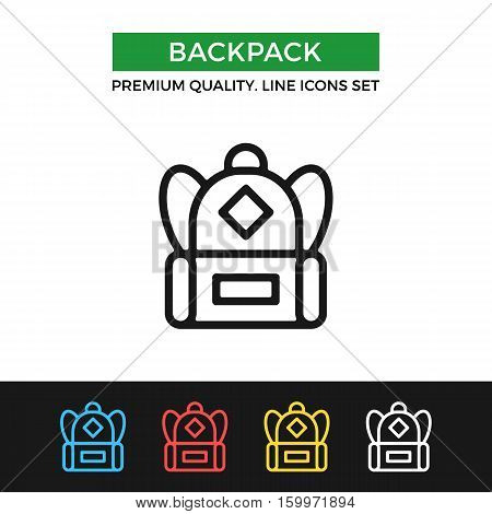 Vector backpack icon. Premium quality graphic design. Modern signs, outline symbols collection, simple thin line icons set for websites, web design, mobile app, infographics