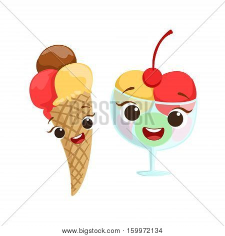 Ice-Cream Kids Birthday Party Happy Smiling Animated Object Cartoon Girly Character Festive Illustration. Part Of Vector Collection Of Fantasy Creatures On Children Celebration Flat Drawings.