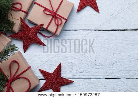 Boxes with presents, red stars