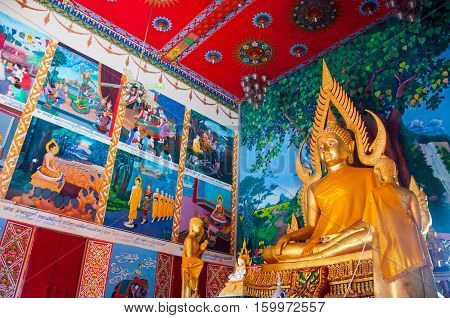 KOH SAMUI, THAILAND - APRIL 26, 2014: Beautiful ceiling of one of the Buddhist temples at Wat Plai Laem in resort island. The design incorporates elements of Chinese and Thai traditions