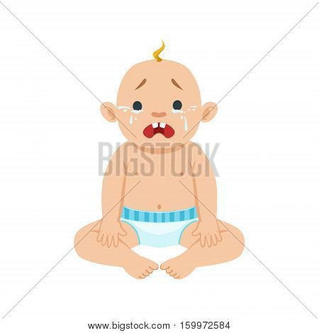 Little Baby Boy Sitting In Nappy Crying With Eyes Full Of Tears, Part Of Reasons Of Infant Being Unhappy Cartoon Illustration Collection. Infancy And Parenthood Info Vector Drawings With Explanations Why Toddler Is Upset.