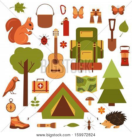 Vector cartoon eco tourism icons camping set tent, backpack, bird, squirrel, hedgehog. Flat illustration of summer eco tourism camping icons. Ecological travelling background for eco tourism designs.