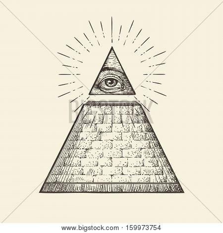 All seeing eye pyramid symbol. New World Order. Hand-drawn sketch vector