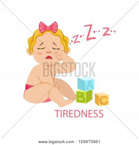 Little Baby Girl In Nappy Is Tired And Needs Sleep, Part Of Reasons Of Infant Being Unhappy And Crying Cartoon Illustration Collection. Infancy And Parenthood Info Vector Drawings With Explanations Why Toddler Is Upset.