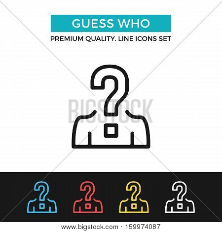 Vector guess who icon. Candidate, uncertainty, quiz. Premium quality graphic design. Signs, outline symbols collection, simple thin line icons set for websites, web design, mobile app, infographics