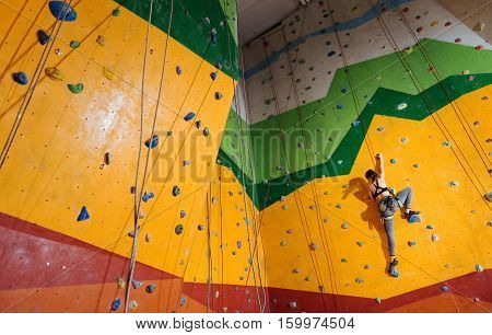 Leave the fear behind. Fearless young active woman climbing up the orange wall in gym while training and wearing sportswear and special equipment.