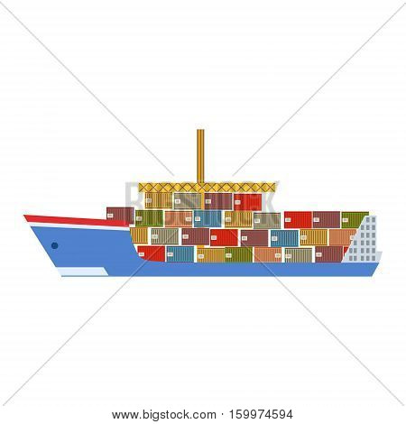 Delivery Service Company Large Cargo Ship Delivering Shipment Overseas View From The Side. Part Of Logistics Transport Firm Collection Of Cartoon Vector Illustrations.