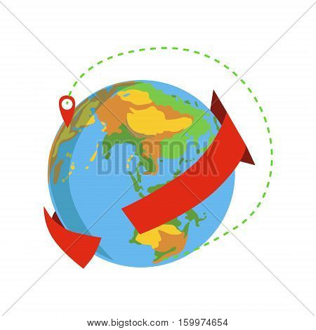 Globe With Red Arrow Going Around And Marked Destination Delivery Service Company Symbol Of Worldwide Coverage. Part Of Logistics Transport Firm Collection Of Cartoon Vector Illustrations.