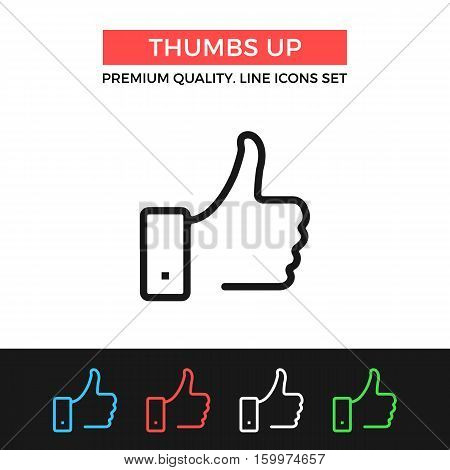 Vector thumbs up icon. Like concepts. Premium quality graphic design. Modern signs, outline symbols collection, simple thin line icons set for websites, web design, mobile app, infographics