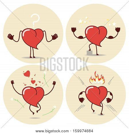 Heart cartoon in different situations. Vector icons stickers