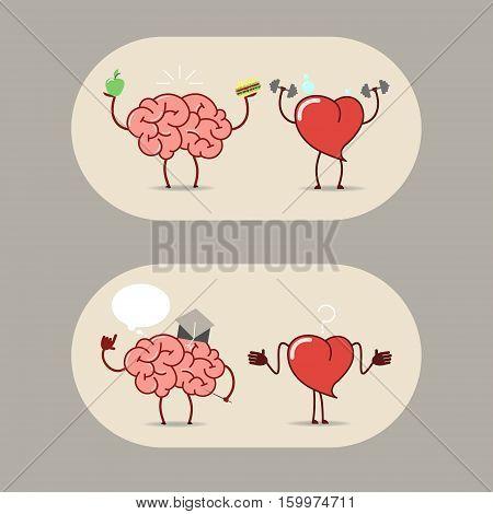 The brain and heart teamwork. Cartoon sticker brain and heart. Vector
