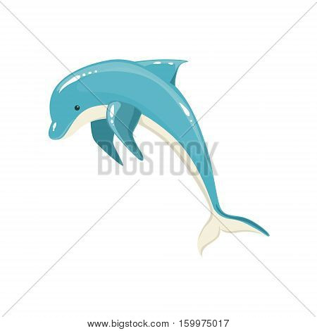Blue Bottlenose Dolphin Jumping For Entertainment Show, Realistic Aquatic Mammal Vector Drawing. Friendly Cute Marine Animal In Aquarium Zoo Cartoon Illustration.