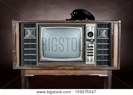 Old telephone put on an vintage television on brown background.