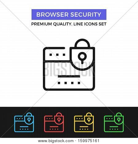 Vector browser security icon. Internet protection. Premium quality graphic design. Modern signs, outline symbols collection, simple thin line icons set for website, web design, mobile app, infographics