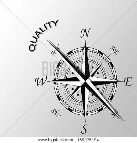 Illustration of Quality word written aside compass
