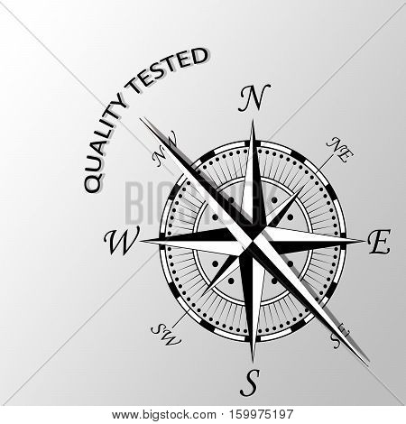 illustration of Quality tested written aside compass