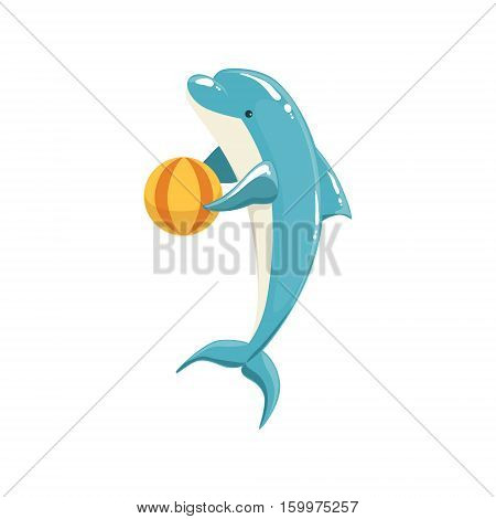 Blue Bottlenose Dolphin Holding Ball For Entertainment Show, Realistic Aquatic Mammal Vector Drawing. Friendly Cute Marine Animal In Aquarium Zoo Cartoon Illustration.