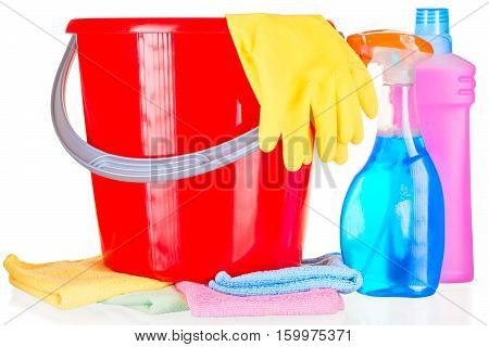 Household Chemicals, Gloves And Cloth Close-up On A White Background