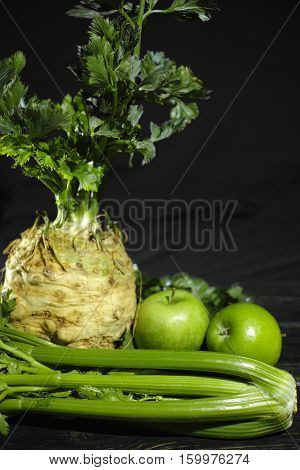 Celery celery root - celeriac and green apples fresh healthy vegetables diet and fitness