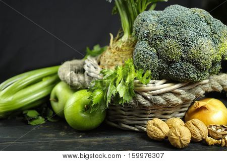 Green vegetables and fruits - celery apples celery root celeriac broccoli healthy diet concept