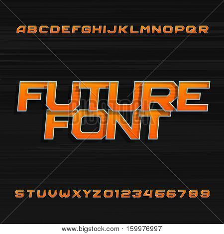 Futuristic alphabet vector font. Effect type letters and numbers on a dark background. Vector typeface for your design.