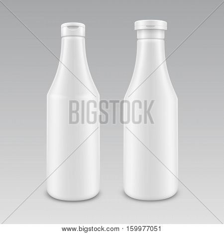 Vector Set of Blank Plastic White Mayonnaise Mustard Ketchup Bottle for Branding without label Isolated on Background