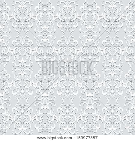 Vintage grey swirly ornament, lace texture, seamless pattern in neutral color