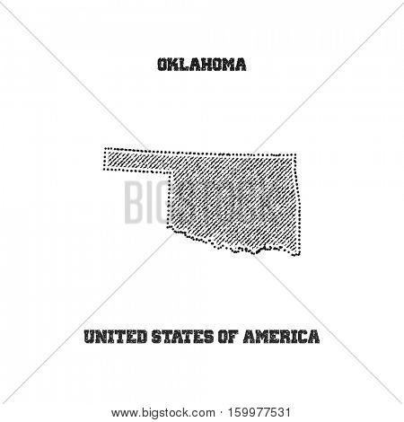 Label with map of oklahoma. Vector illustration.
