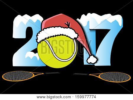 Snowy New Year numbers 2017 and tennis ball in a Christmas hat with tennis rackets. Vector illustration