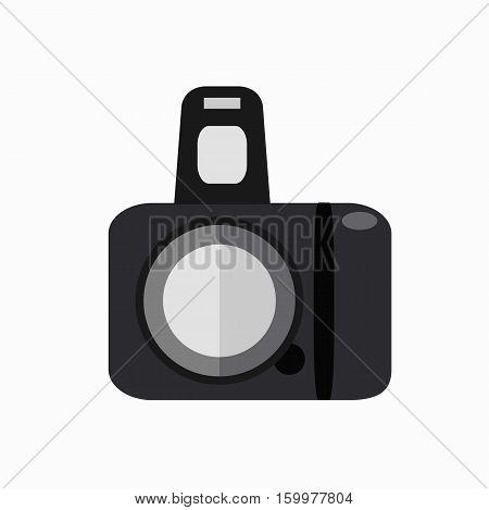 Colorfu photo camera isolated illustration. Vector photo camera icon made in flat style.