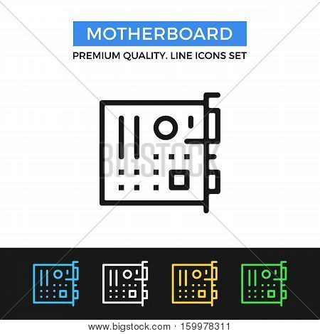 Vector motherboard icon. Mainboard, system board. simple thin line icons set for websites, web design, mobile app, infographics