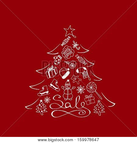 Banner For Sale - Christmas Tree With White Cartoon Elements On The Red Background