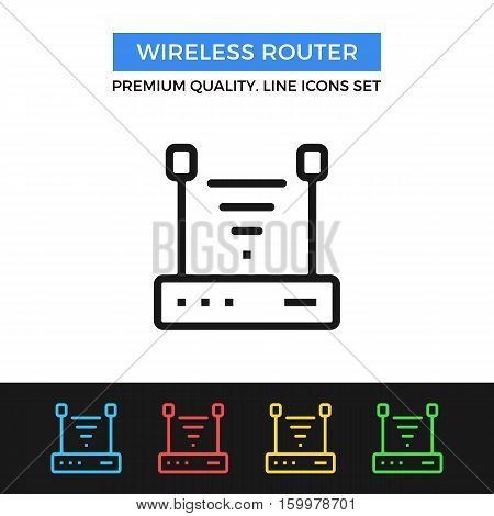 Vector wireless router icon. Wi-fi access point. simple thin line icons set for websites, web design, mobile app, infographics