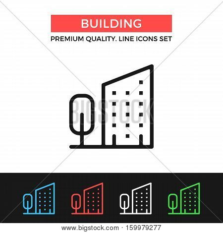 Vector building icon. House and tree. Premium quality graphic design. Modern signs, outline symbols collection, simple thin line icons set for websites, web design, mobile app, infographics