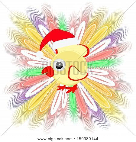 icon picture cockerel symbol Christmas rooster chicken. with feathers. to spend for design, the press, t-shirts. vector illustration. vector illustration