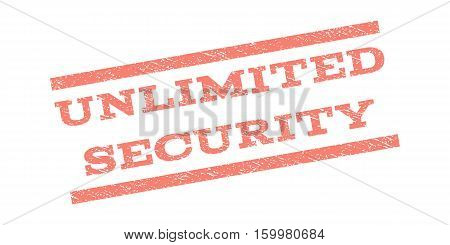 Unlimited Security watermark stamp. Text caption between parallel lines with grunge design style. Rubber seal stamp with dirty texture. Vector salmon color ink imprint on a white background.