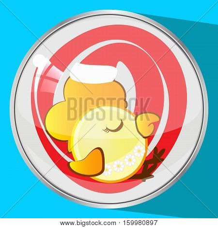 the icon picture a cockerel in a red cap to sleep new year and Christmas a symbol Christmas rooster chicken the button reflection has flown down. to spend for design, the press, t-shirts. vector illustration