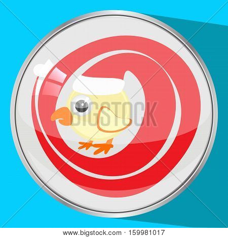 cockerel, rooster in a red cap an icon, the button a symbol 2017 new year, Christmas. to spend for design, the press, t-shirts. on a blue bright background. vector illustration