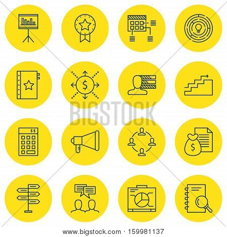 Set Of 16 Project Management Icons. Can Be Used For Web, Mobile, UI And Infographic Design. Includes Elements Such As Advertising, Quality, Personality And More.