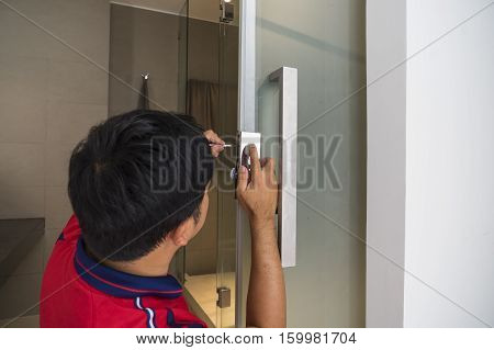 local locksmith service repair bathroom door - can use to display or montage on product