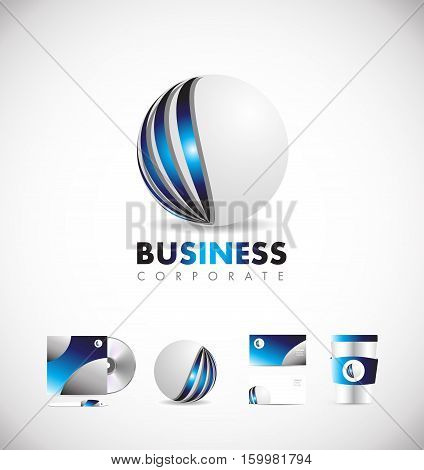 Corporate business sphere blue 3d vector logo icon sign design template