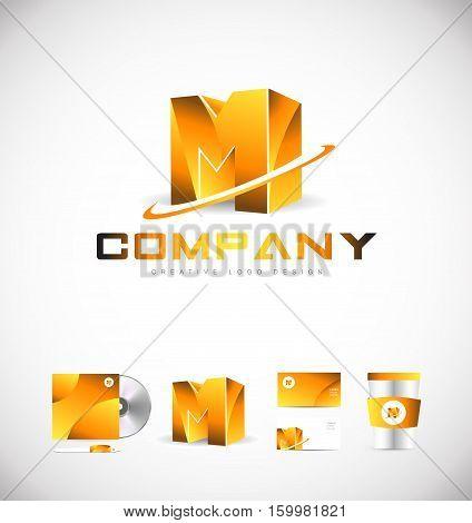 Alphabet letter M 3d gold golden vector logo icon sign design template